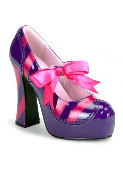 Kitty Purple and Hot Pink Striped Pump at Gothic Plus, Gothic Clothing, Jewelry, Goth Shoes & Boots & Home Decor
