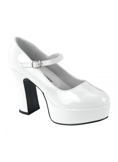 White Mary Jane Square Heeled Pump at Gothic Plus, Gothic Clothing, Jewelry, Goth Shoes & Boots & Home Decor