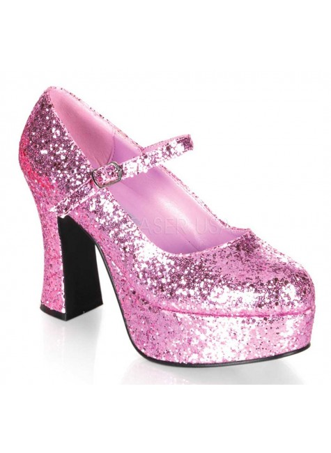 Baby Pink Mary Jane Glitter Square Heeled Pump at Gothic Plus, Gothic Clothing, Jewelry, Goth Shoes & Boots & Home Decor