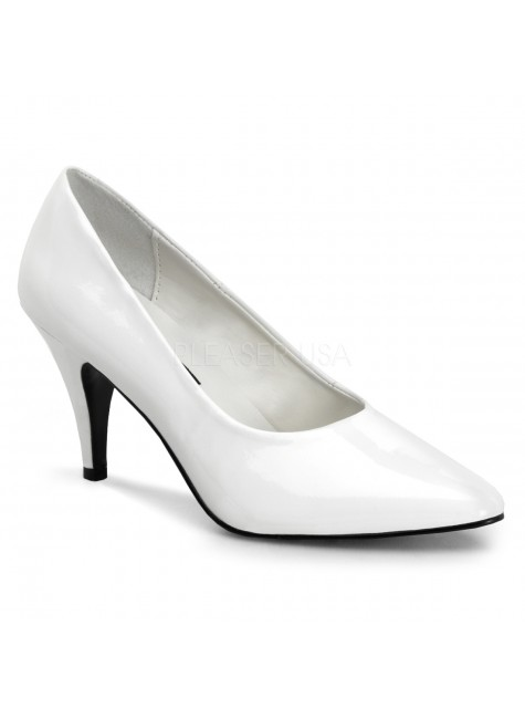 White Classic Pump 420 with 3 Inch Heel at Gothic Plus, Gothic Clothing, Jewelry, Goth Shoes & Boots & Home Decor
