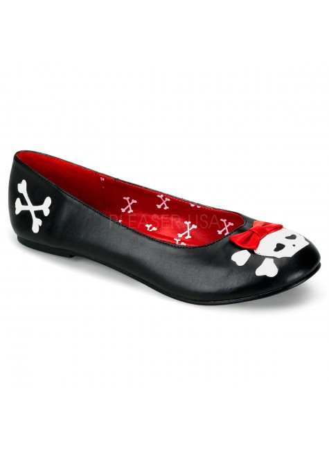 Skull and Crossbone Black Ballet Flat at Gothic Plus, Gothic Clothing, Jewelry, Goth Shoes & Boots & Home Decor