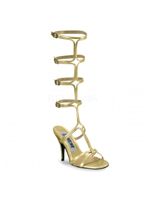 Roman Gold Gladiator Mule Sandal at Gothic Plus, Gothic Clothing, Jewelry, Goth Shoes & Boots & Home Decor
