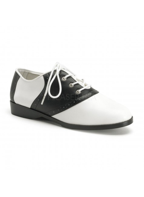 Saddle Shoe Black and White Womens Flat Oxford at Gothic Plus, Gothic Clothing, Jewelry, Goth Shoes & Boots & Home Decor