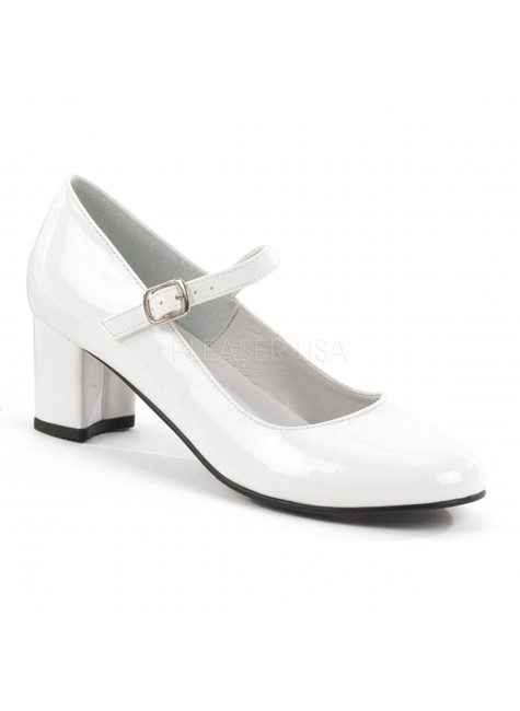 Schoolgirl White Mary Jane Pump at Gothic Plus, Gothic Clothing, Jewelry, Goth Shoes & Boots & Home Decor