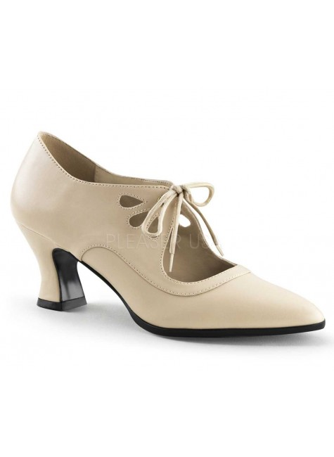 Victorian Cream Cut Out Womens Pump at Gothic Plus, Gothic Clothing, Jewelry, Goth Shoes & Boots & Home Decor