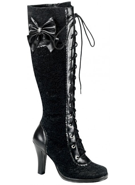 Glam Lace Overlay Knee Boot at Gothic Plus, Gothic Clothing, Jewelry, Goth Shoes & Boots & Home Decor