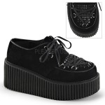 Black Vegan Suede Studded Womens Creeper
