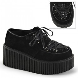 Black Vegan Suede Studded Womens Creeper Gothic Plus  Gothic Clothing, Jewelry, Goth Shoes, Boots & Home Decor