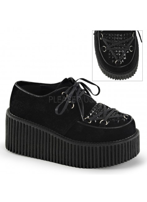 Black Vegan Suede Studded Womens Creeper at Gothic Plus, Gothic Clothing, Jewelry, Goth Shoes & Boots & Home Decor