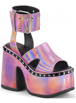 Camel Pink Hologram Platform Sandals Gothic Plus Gothic Clothing, Jewelry, Goth Shoes & Boots & Home Decor