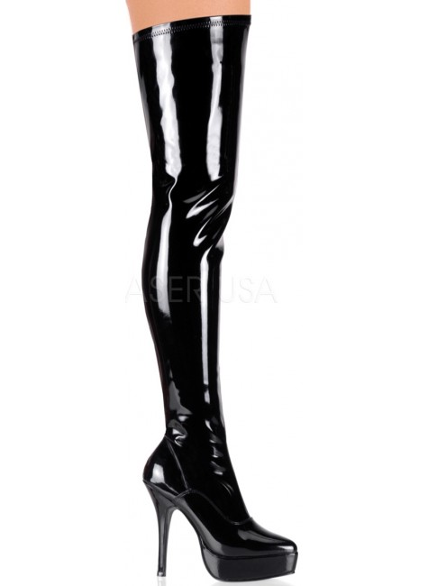 Black Indulge Faux Patent Leather Stiletto Heel Boot at Gothic Plus, Gothic Clothing, Jewelry, Goth Shoes & Boots & Home Decor