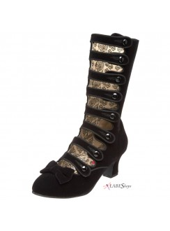 Whimsey Black Velvet Steampunk Victorian Boots Gothic Plus Gothic Clothing, Jewelry, Goth Shoes & Boots & Home Decor
