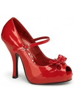 Cutie Pie Red Peep Toe Mary Jane Pin Up Pumps Gothic Plus Gothic Clothing, Jewelry, Goth Shoes & Boots & Home Decor