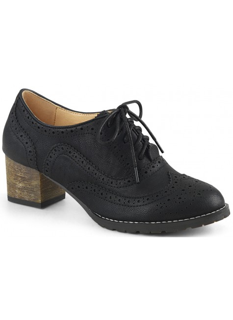 Russell Womens Wingtip Oxford in Black at Gothic Plus, Gothic Clothing, Jewelry, Goth Shoes & Boots & Home Decor
