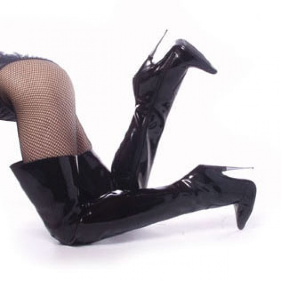 thigh high scream boots with 6 inch heel metal