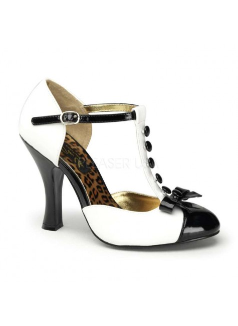 Button T-Strap White and Black Pump at Gothic Plus, Gothic Clothing, Jewelry, Goth Shoes & Boots & Home Decor