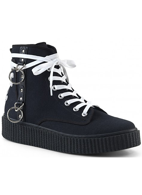 Demonia O-Ring Black Canvas High Top Sneaker at Gothic Plus, Gothic Clothing, Jewelry, Goth Shoes & Boots & Home Decor