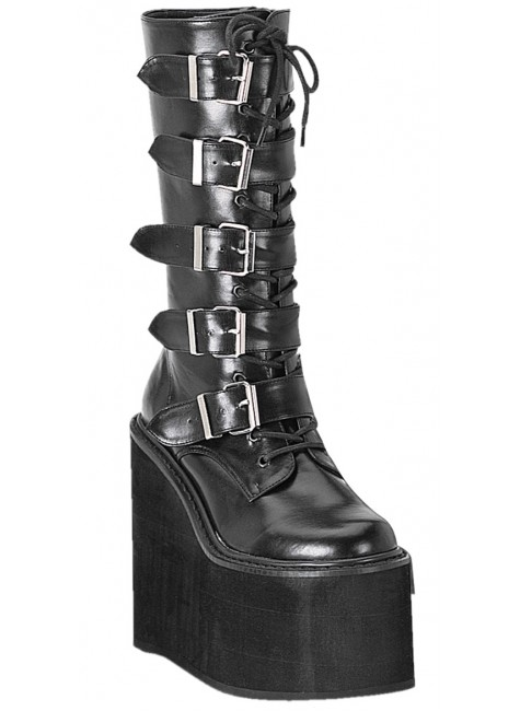 Swing Womens Platform Mid-Calf Boots at Gothic Plus, Gothic Clothing, Jewelry, Goth Shoes & Boots & Home Decor