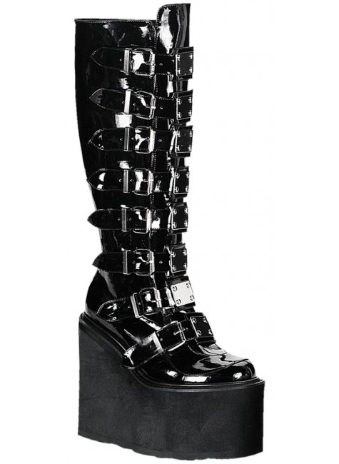 Swing Buckled Womens Platform Boots at Gothic Plus, Gothic Clothing, Jewelry, Goth Shoes & Boots & Home Decor