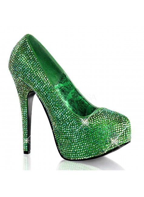 Teeze Green Iridescent Rhinestone Platform Pump at Gothic Plus, Gothic Clothing, Jewelry, Goth Shoes & Boots & Home Decor