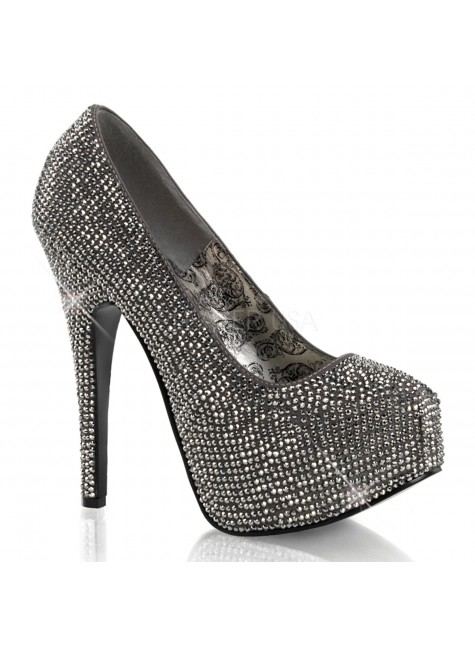 Teeze Pewter Rhinestone Platform Pump at Gothic Plus, Gothic Clothing, Jewelry, Goth Shoes & Boots & Home Decor
