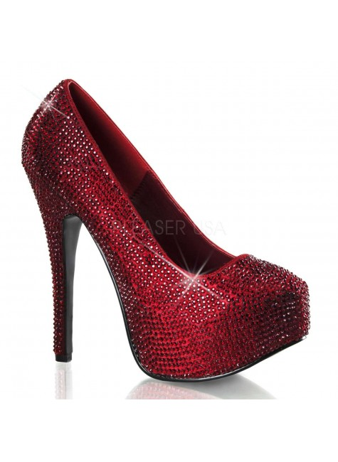 Teeze Ruby Red Rhinestone Platform Pump at Gothic Plus, Gothic Clothing, Jewelry, Goth Shoes & Boots & Home Decor