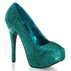 Teeze Turquoise Rhinestone Platform Pump Gothic Plus Gothic Clothing, Jewelry, Goth Shoes & Boots & Home Decor