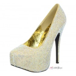 Teeze Gold Iridescent Rhinestone Platform Pump Gothic Plus Gothic Clothing, Jewelry, Goth Shoes & Boots & Home Decor