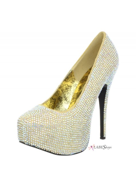 Teeze Gold Iridescent Rhinestone Platform Pump at Gothic Plus, Gothic Clothing, Jewelry, Goth Shoes & Boots & Home Decor