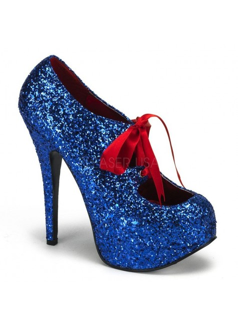 Teeze Blue Glittered Platform Pump at Gothic Plus, Gothic Clothing, Jewelry, Goth Shoes & Boots & Home Decor