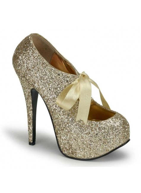 Teeze Gold Glittered Platform Pump at Gothic Plus, Gothic Clothing, Jewelry, Goth Shoes & Boots & Home Decor