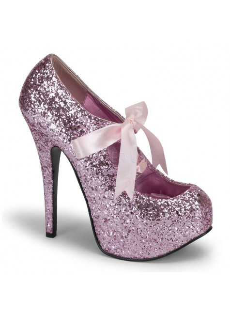 Teeze Baby Pink Glittered Platform Pump at Gothic Plus, Gothic Clothing, Jewelry, Goth Shoes & Boots & Home Decor