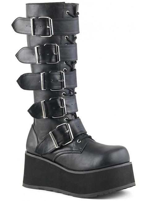 Trashville Buckled Up Unisex Knee Boot at Gothic Plus, Gothic Clothing, Jewelry, Goth Shoes & Boots & Home Decor