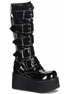 Trashville Buckled Up Unisex Patent Knee Boot Gothic Plus Gothic Clothing, Jewelry, Goth Shoes & Boots & Home Decor