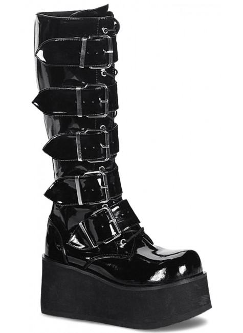 Trashville Buckled Up Unisex Patent Knee Boot