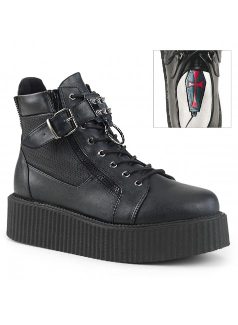Creeper-566 O-Ring Platform Oxford by Demonia at Gothic Plus, Gothic Clothing, Jewelry, Goth Shoes & Boots & Home Decor