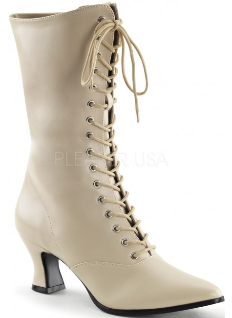 Cream Victorian Ankle Boot at Gothic Plus, Gothic Clothing, Jewelry, Goth Shoes & Boots & Home Decor