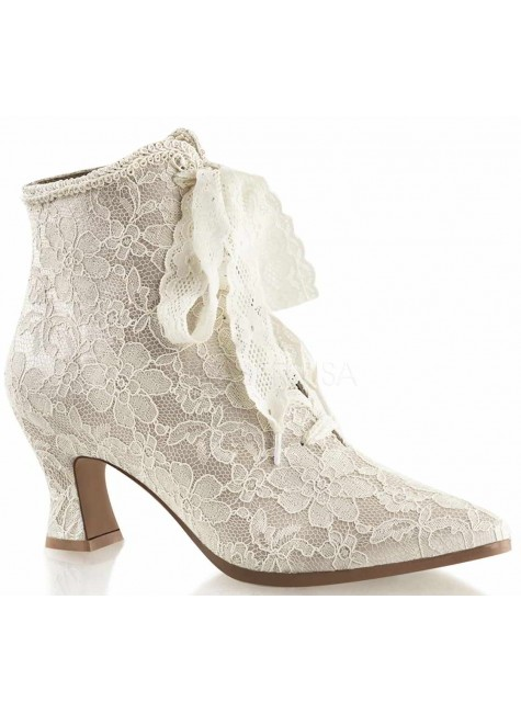 Victorian Jane Champagne Lace Ankle Boot at Gothic Plus, Gothic Clothing, Jewelry, Goth Shoes & Boots & Home Decor