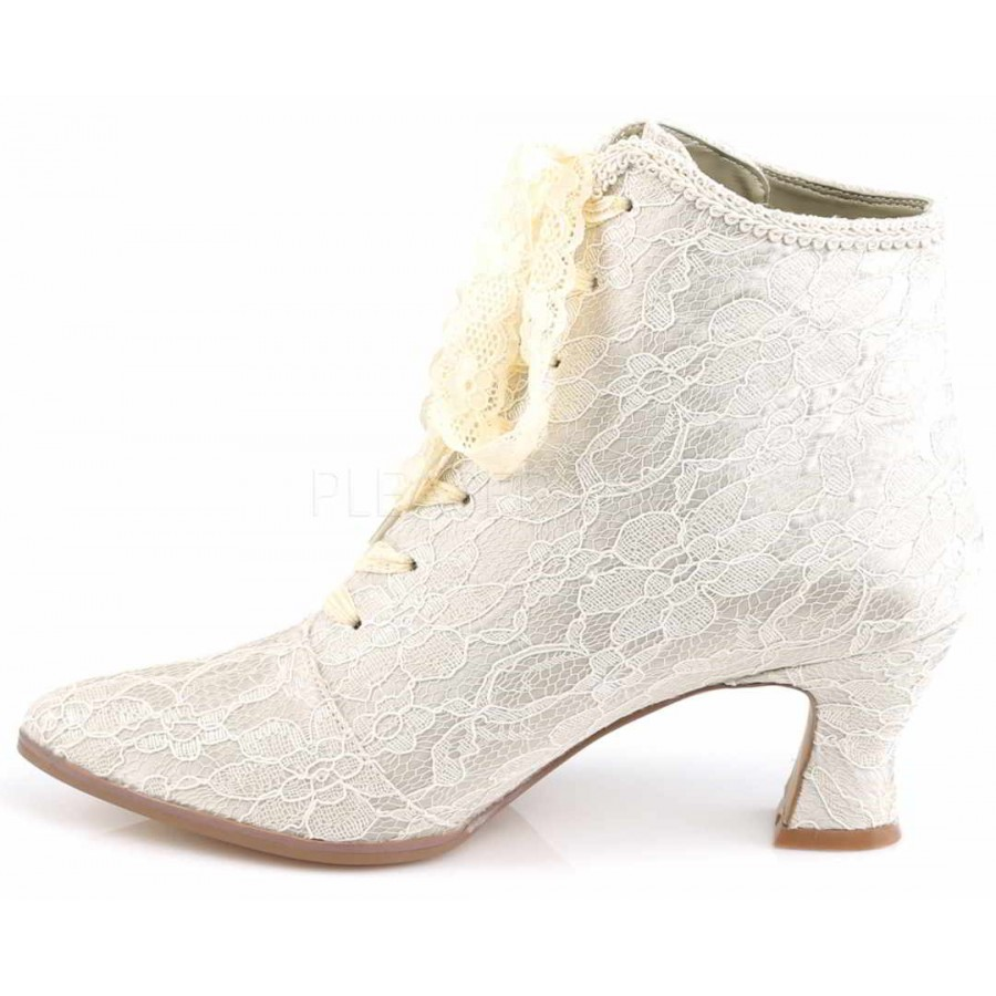 Victorian Jane Champagne Lace Ankle Boot | Steampunk Wedding Shoes
