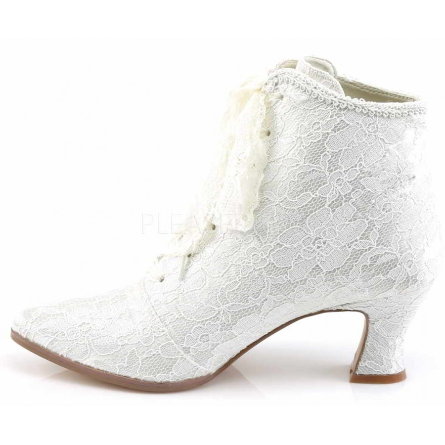 Victorian Jane Ivory Lace Ankle Boot At Gothic Plus Clothing Jewelry Goth
