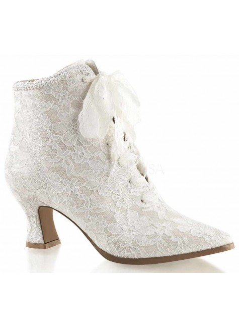 Victorian Jane Ivory Lace Ankle Boot at Gothic Plus, Gothic Clothing, Jewelry, Goth Shoes & Boots & Home Decor