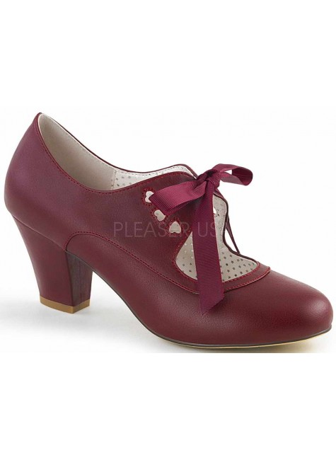 Wiggle Vintage Style Mary Jane Shoe in Burgundy at Gothic Plus, Gothic Clothing, Jewelry, Goth Shoes & Boots & Home Decor