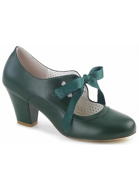 Wiggle Vintage Style Mary Jane Shoe in Forest Green at Gothic Plus, Gothic Clothing, Jewelry, Goth Shoes & Boots & Home Decor