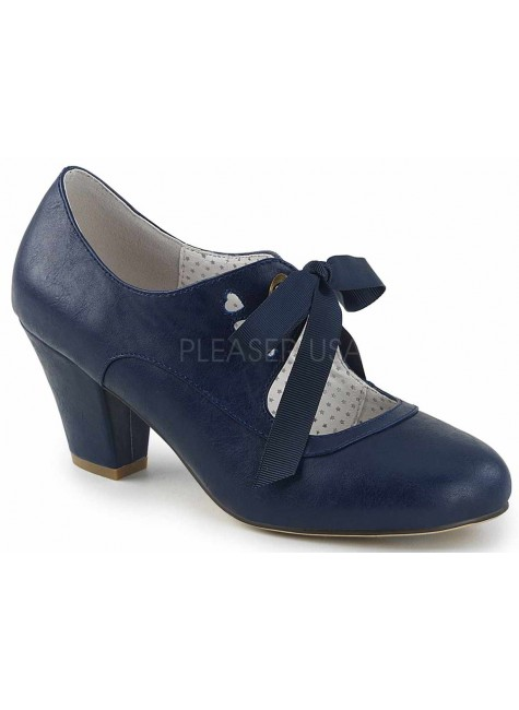 Wiggle Vintage Style Mary Jane Shoe in Navy Blue at Gothic Plus, Gothic Clothing, Jewelry, Goth Shoes & Boots & Home Decor