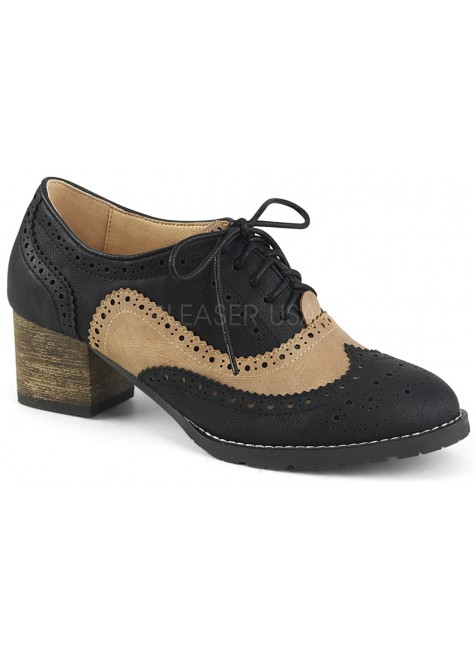 Russell Womens Wingtip Oxford in Tan and Black at Gothic Plus, Gothic Clothing, Jewelry, Goth Shoes & Boots & Home Decor