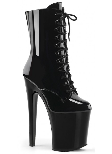 Xtreme 8 Inch High Black Patent Granny Boot at Gothic Plus, Gothic Clothing, Jewelry, Goth Shoes & Boots & Home Decor