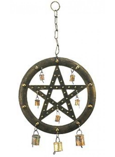 Pentacle Wind Chime with Bells at Gothic Plus, Gothic Clothing, Jewelry, Goth Shoes & Boots & Home Decor