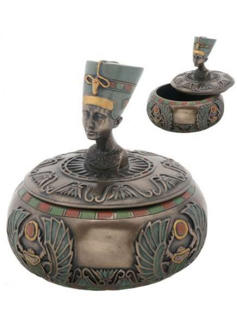 Nefertiti Egyptian Round Trinket Box at Gothic Plus, Gothic Clothing, Jewelry, Goth Shoes & Boots & Home Decor