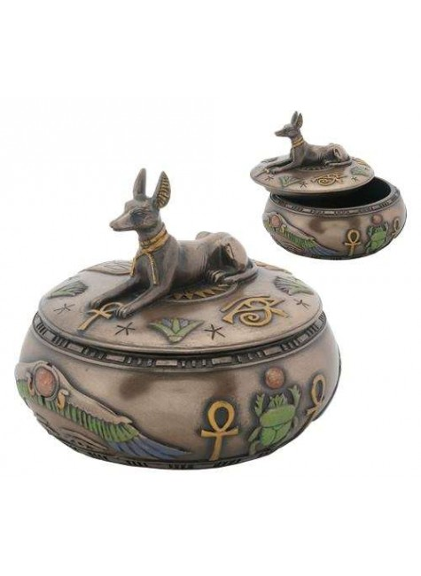 Anubis Egyptian Jackal Round Trinket Box at Gothic Plus, Gothic Clothing, Jewelry, Goth Shoes & Boots & Home Decor