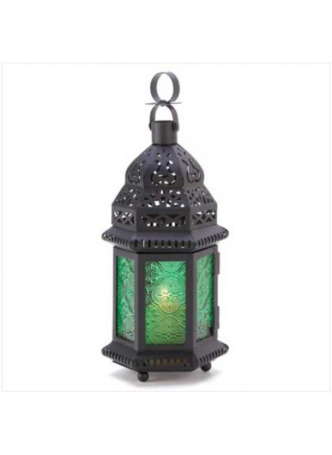 Green Glass Moroccan Candle Lantern at Gothic Plus, Gothic Clothing, Jewelry, Goth Shoes & Boots & Home Decor